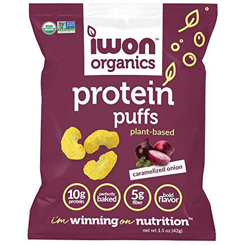 IWON Organics Caramelized Onion Flavor Protein Puff, High Protein and Organic Healthy Snacks, 8 Bags