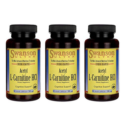 Swanson Amino Acid Acetyl L-Carnitine Hcl 500 Milligrams 60 Veg Capsules (3 Pack)