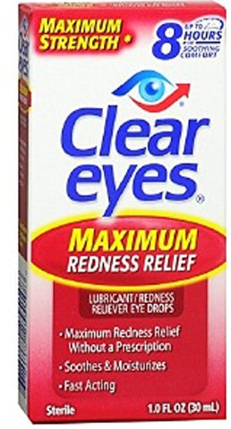 Clear Eyes Maximum Redness Relief Eye Drops 1 oz (Pack of 9)