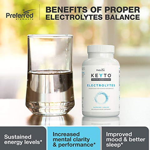 Keyto Electrolyte Supplement  Keto and Low Carb Diet Friendly 180 Veggie Capsules  Sodium, Potassium, Magnesium, Calcium, Manganese, B6  for Electrolytes Balance, Hydration, Energy, and Recovery