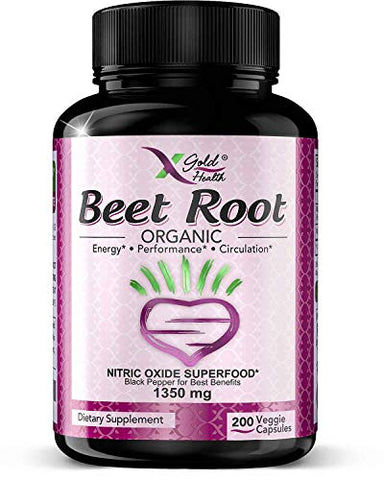 Strongest Premium Organic Beet Root Powder 1350mg 200 Veggie caps Superfood Nitric Oxide Supplement Natural Nitrates w/Black Pepper for Best Benefits - Circulation, Heart Health, Athletic Performance