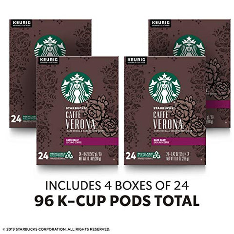 Starbucks Dark Roast K-Cup Coffee Pods ?? Caff Verona for Keurig Brewers ?? 4 boxes (96 pods total)
