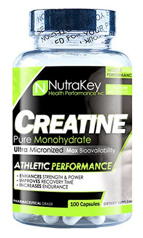 NutraKey Creatine Monohydrate Capsules, 100 Count
