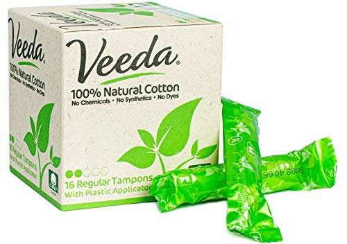 Veeda 100% Natural Cotton Compact Bpa Free Applicator Tampons Chlorine, Toxin And Pesticide Free, Re