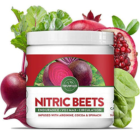 TRUWILD Nitric Beets - Circulation Superfood, Nitric Oxide Boosting Supplement, Vitamin C, L-Arginine & L-Citrulline for Endurance/ VO2 MAX/Circulation/Energy - 90 Veggie Capsules