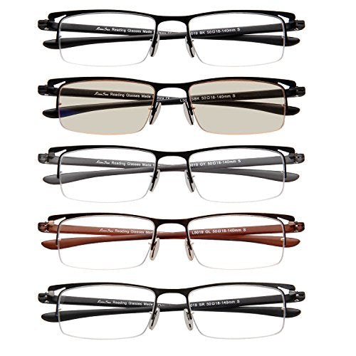LianSan 5 Pairs Half Frame Metal Reading Glasses Comfort Vintage Prescription Eyeglasses L5019(+1.00)
