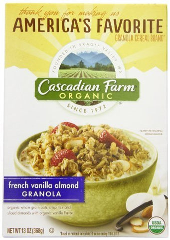 Cascadian Farm Organic Granola Cereal, French Vanilla Almond, 13.0 Ounce (Pack of 6) by Cascadian Farm
