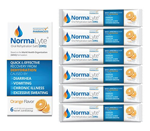 NormaLyte Oral Rehydration Salts, Orange, 6 Pk (Yields 500mL per Pack)