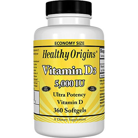Healthy Origins Vitamin D3 5, 000 IU (Non-GMO), 360 Softgels