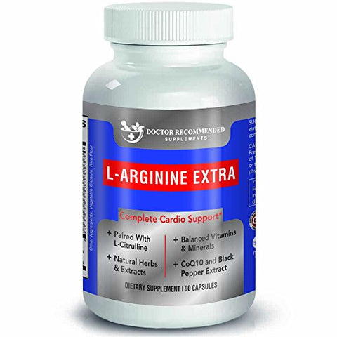 Doctor Recommended L-Arginine Supplement  Supports Muscle Mass  Improves Blood Flow  Nitric Acid Precursor  Blended with Vitamins and Cardio Support Ingredients  100% Vegetarian  Made in USA