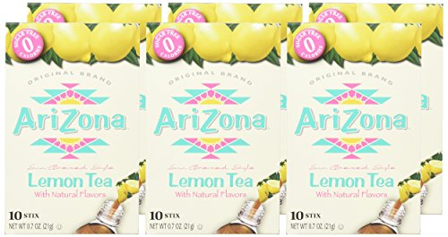 Arizona Lemon Iced Tea Stix Sugar Free, 10Countper Box (Pack of 6), Low Calorie Single Serving Drink Powder Packets, Just Add Water for a Deliciously Refreshing Iced Tea Beverage