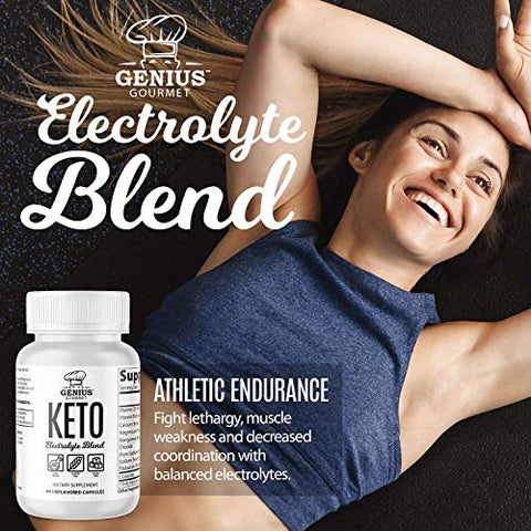 Genius Gourmet Keto Electrolyte Capsules - Electrolyte Tablets for Hydration & Recovery | Potassium, Magnesium, Calcium, Sodium, Gluten Free, Sugar Free, Unflavored, 90 Capsules