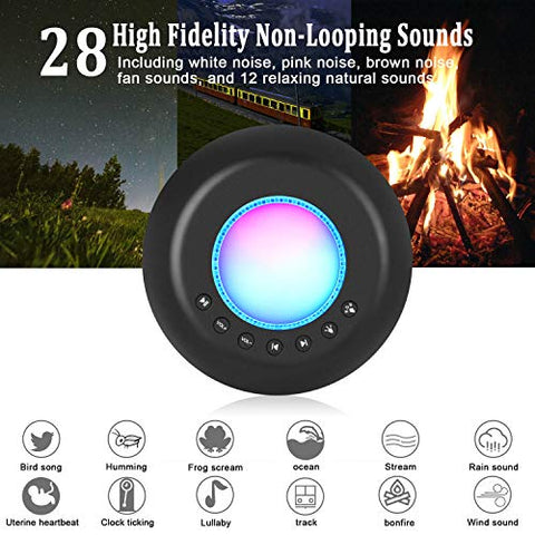 Sound Machine Baby with Night Light, Portable Baby White Noise Machine for Sleeping Travel/Office Privacy, 28 Non-Looping Soothing Nature Sounds/Lullaby/Fan/White Noise Maker for Kids/Adults -Black