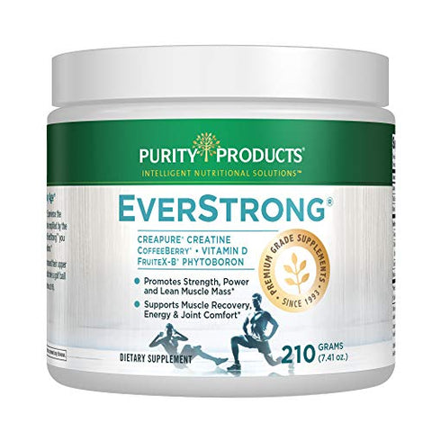 EverStrong Powder - Muscle Matrix Blend | Creapure Creatine | Boron (FruiteX-B PhytoBoron) | CoffeeBerry Extract | Boosted with 1000 IU Vitamin D - Berry Burst (210 g) from Purity Products