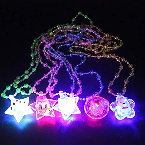 LIMINGZE 5PCS Christmas Necklace Creative Glow Necklace Beads Necklace for Party
