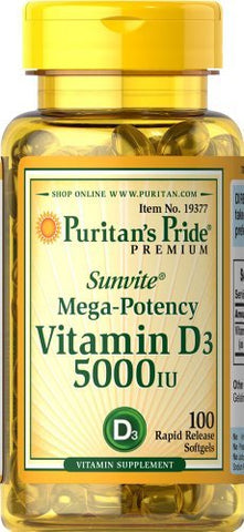 Puritan's Pride 2 Pack of Vitamin D3 5000 IU Puritan's Pride Vitamin D3 5000 IU-100 Softgels