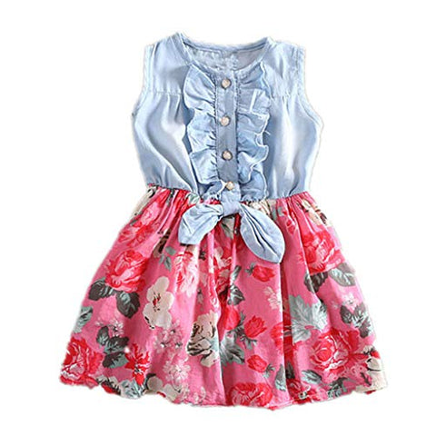 heavKin-Clothes 1-9 Years Kids Baby Girls Dress O-Neck Sleeveless Bowknot Floral Print Denim Stitching Skirt
