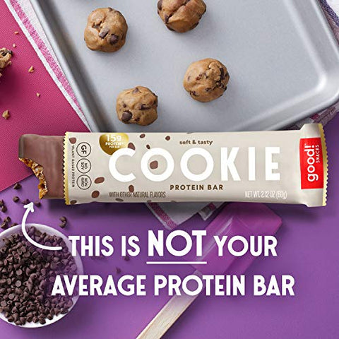 good! Snacks Vegan Cookie Dough Protein Bar | Gluten-Free, Plant Based, Low Sugar, Kosher, Soy Free, Non GMO | 15g Protein (12 Bars)