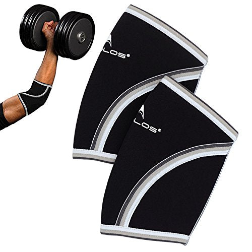 Compression Elbow Sleeves(Pair), 5mm Neoprene,Perfect Support for Crossfit,Weightlifting,Powerlifting,Tennis, Golf & Basketball (Small, Black)