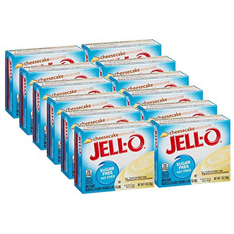 Jell-O Sugar-Free Cheesecake Instant Pudding Mix 1 Ounce Box (Pack of 12)