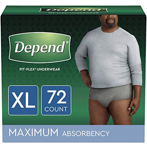 Depend FIT-FLEX Incontinence Underwear for Men, Maximum Absorbency, Disposable, XL, Grey, 72 Count