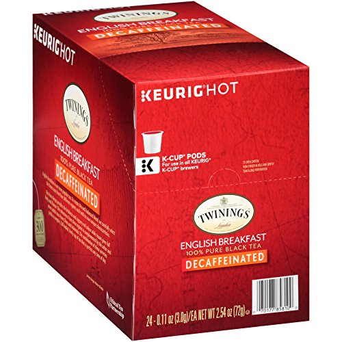 Twinings of London Decaffeinated English Breakfast Tea K-Cups for Keurig, 24 Count (Pack of 1)