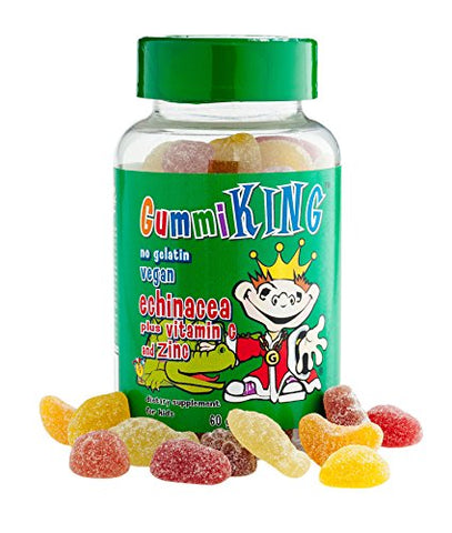 Gummi King Echinacea Plus Vitamin-C Zinc Supplement, Strawberry/Lemon/Orange/Grape/Cherry/Grapefruit, 60 Count