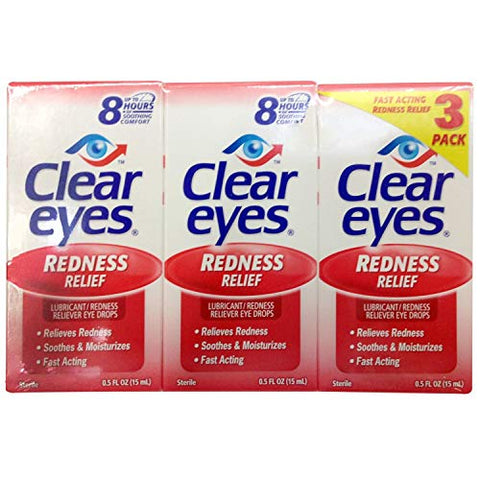 Clear Eyes Redness Relief 15 mlx3, 3 Packs
