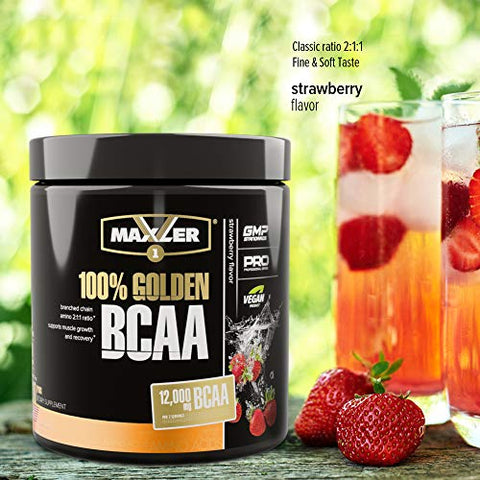 Maxler 100% Golden BCAA Powder - Intra & Post Workout Recovery Drink for Accelerated Muscle Recovery & Lean Muscle Growth - 6 g Vegan BCAAs Amino Acids - 30 Servings - Strawberry