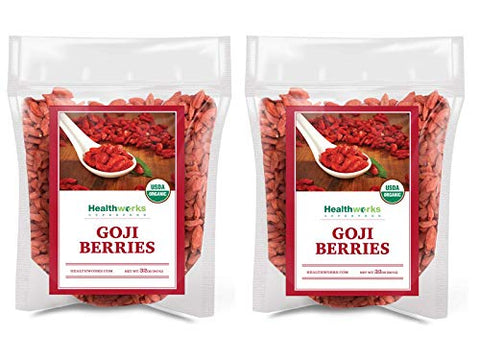 Healthworks Raw Goji Berries (64 Ounces / 4 Pounds) (2 x 2 Pounds Bags) | Certified Organic & Sun-Dried | Keto, Vegan & Non-GMO | Baking, Teas & Smoothies | Antioxidant Superfood