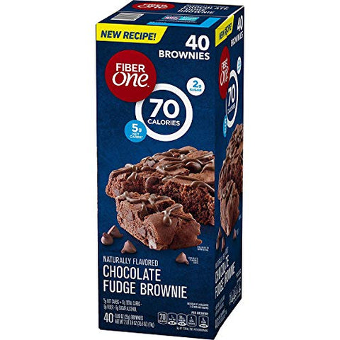 Fiber One Brownies Chocolate Fudge, 70 Calories (40 Count)