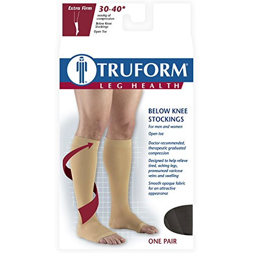 Truform 30-40 mmHg Compression Stockings for Men and Women, Knee High Length, Open Toe, Black, Large