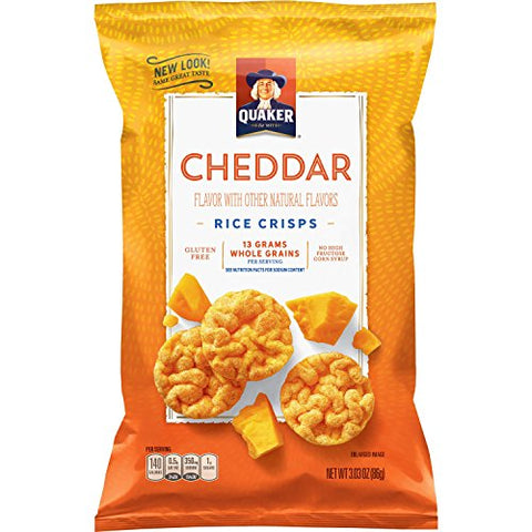 Quaker Rice Crisps, Gluten Free, Cheddar Cheese, 3.03oz Bags, 12 Count