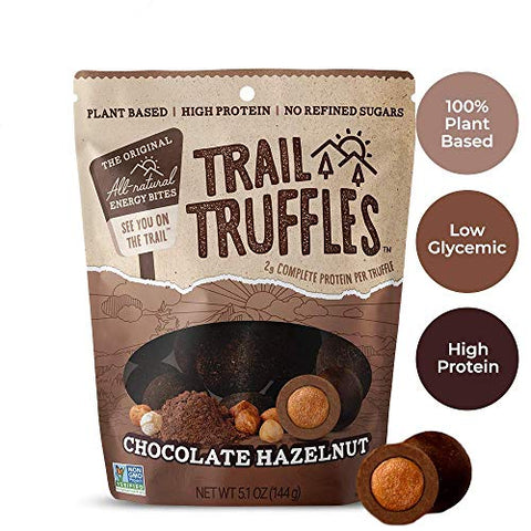 Trail Truffles ?? Vegan, Dark Chocolate Superfood Protein Balls ?? Healthy, Plant Based, Gluten Free, Dairy Free, Soy Free, Non-GMO Snacks (Chocolate Hazelnut, 1 Pack)