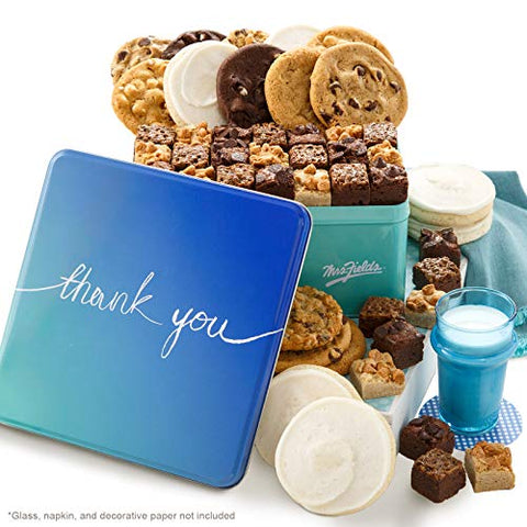 Mrs. Fields Cookies Thank You Combo Tin Includes: 2 Original Cookies, 6 Large Brownie Bars and 6 Frosted Cookies Perfect Thank You Gift, Chocolate Chip, 1 Count