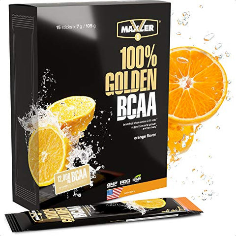 Maxler 100% Golden BCAA Powder - Intra & Post Workout Recovery Drink for Accelerated Muscle Recovery & Lean Muscle Growth - 6 g Vegan BCAAs Amino Acids - 15 Servings - Orange