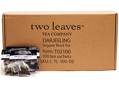 Two Leaves and a Bud Organic Darjeeling Black Tea Bags, 100 Count, Organic Whole Leaf Full Caffeine Black Tea in Pyramid Sachet Bags, Delicious Hot or Iced with Milk, Sugar, Honey or Plain