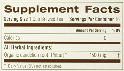 Roasted Dandelion Root Tea - 16 Count - Pack of 1, 0.85 oz