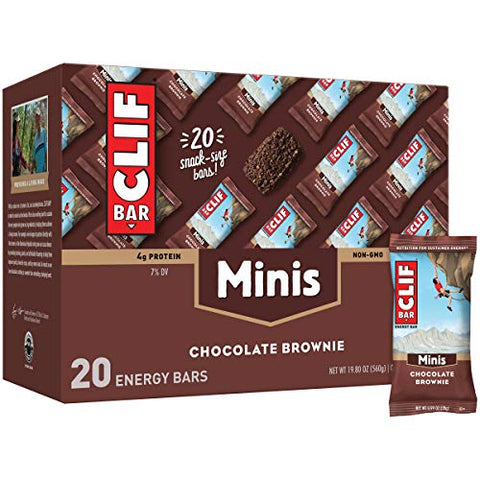 CLIF BARS - Mini Energy Bar - Chocolate Brownie - Made with Organic Oats - Plant Based Food - Vegetarian - Kosher (0.99 Ounce Snack Bar, 20 Count)