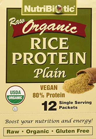 NutriBiotic Certified Organic Rice Protein Plain|12 single serving packets| low Carb Vegan Protein Powder| Non-GMO| Raw & Gluten Free| Chemical-free Processing| Certified Kosher Keto friendly