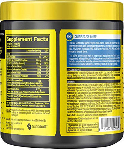 C4 Sport Pre Workout Powder Fruit Punch - NSF Certified for Sport + Sugar Free Preworkout Energy Supplement for Men & Women - 135mg Caffeine + Creatine - 30 Servings