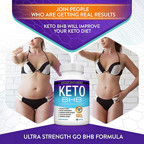 Keto Pills Ketosis Diet BHB Salt - Natural Ketosis Using Ketone & Ketogenic Diet, Support Energy & Focus with Exogenous Ketones, Support Keto Diet Perfect for Men Women, 60 Capsules, Toplux Supplement