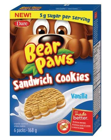 Dare Bear Paws Vanilla Sandwich Cookies, 168g/5.9oz, (Imported from Canada)
