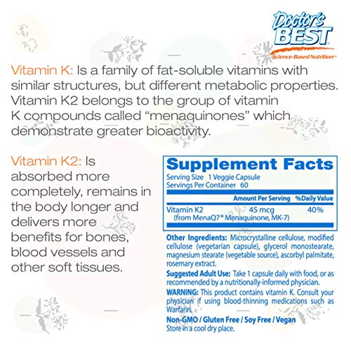 Doctor's Best Natural Vitamin K2 MK-7 with MenaQ7, Non-GMO, Vegan, Gluten Free, Soy Free, 45 mcg 60 Veggie Caps