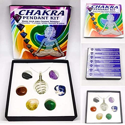 'Shanti by Mira' Merkaba Star Tumble Stone Set of Seven - Reiki Set of 4 - Healing Energy Charged Chakra Genuine Gemstone Engraved Crystals (Chakra Pendant Kit)