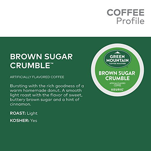 Green Mountain Coffee Roasters Brown Sugar Crumble, Single Serve Keurig K Cup Pods, Flavored Light R