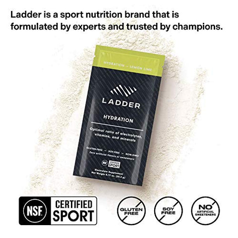 LADDER Sport Hydration Lemon Lime - Essential Electrolytes: Sodium, Potassium, Magnesium, Calcium, Vitamin D, Zinc, No Artificial Sweeteners, 15 On-The-Go Packets, NSF Certified for Sport