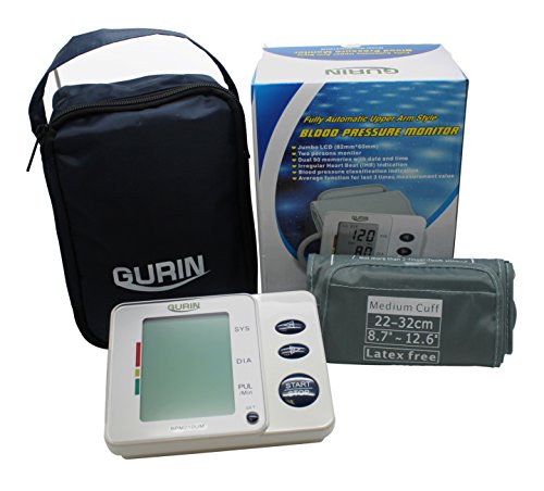 Gurin Automatic Medium Upper Arm Blood Pressure Monitor with Large Display, Digital BP Cuff Meter, 2 User Digital Blood Pressure Machine