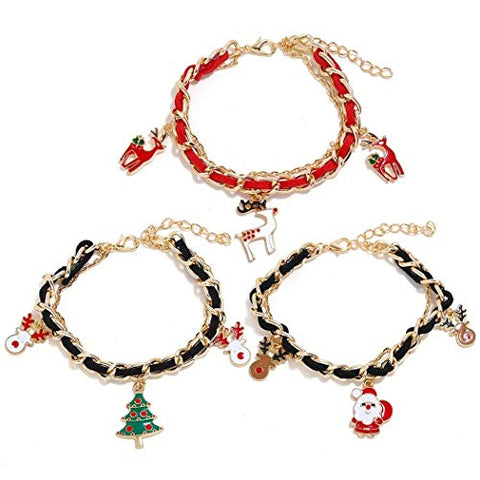 LIMINGZE 3PCS Christmas Bracelet Fashion Cute Multilayer Charm Bracelet Jewelry Bracelet