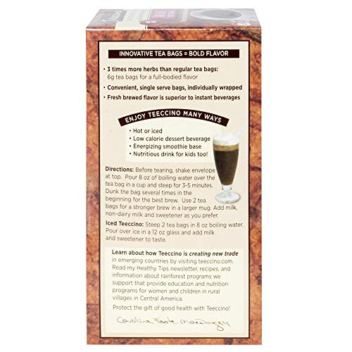 Teeccino Herbal Tea   Hazelnut   Organic Roasted Chicory Root, Caffeine Free, Acid Free, 25 Tea Bags